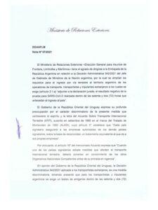 Uruguay presentó una queja a la Argentina